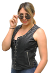 LV2682 Ladies Leather Vest with Metal Eyelets and Ajustable Side Laces Side View 1