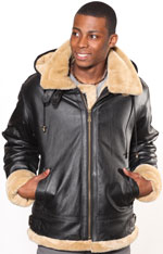 Mens Warm Sherpa Lined Leather Jacket with Zipper