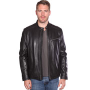 B1115 Mens Contemporary Cafe Racer Lambskin Leather Jacket