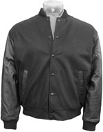 Varsity Letterman Black Wool Jacket with Leather Sleeves