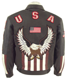 USA1 Mens Leather Jacket with Flag on Back