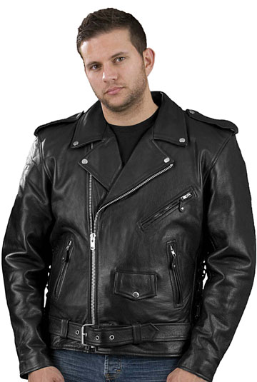Classic Leather Motorcycle Jacket - Coat Nj