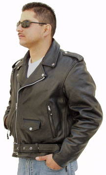 Our Tall Sized Mens Imported Leather Biker Jackets are made of Heavy Leather and have a diagonal front zipper and half belt. There are epaulets and a coin