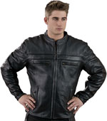 C1408 Vented Scooter Leather Biker Jacket