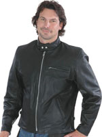 C502 Tall Size Scooter Leather Motorcycle Jacket with Sport Collar and Zipper Chaest Pocket