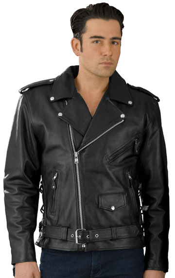 C5411 Classic Leather Biker Jacket with Zipout and Side Laces ...