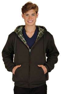 M1077 Reversible Poly Fleece Charcoal and Grey and Stripes Hoodie