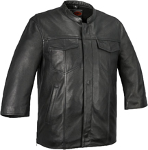 B419 Lambskin Club Shirt with Zipper and Short Wide Sleeves