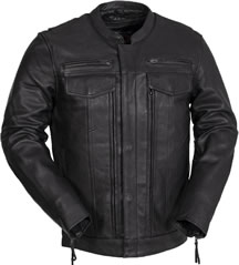 C263 Leather Motorcycle Club Jacket with Hidden Pockets Panel