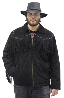 S49924 Mens Black Leather Suede Coat with Western Cut and Fringes