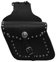 DIAGONAL LEATHER SADDLE BAG WITH STUDS & CONCHO