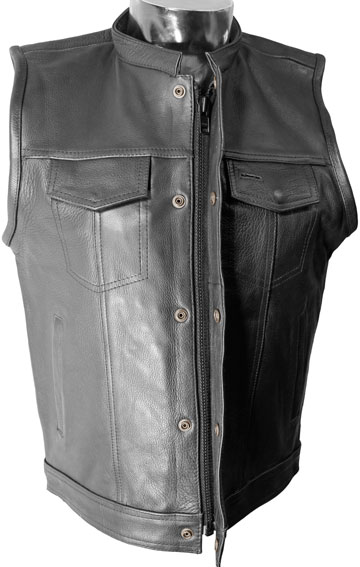 V320Z Mens Leather Club Vest with Snaps and Hidden Zipper