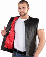 V8002 Mens Club Vest with Piping on Collar and hidden snaps