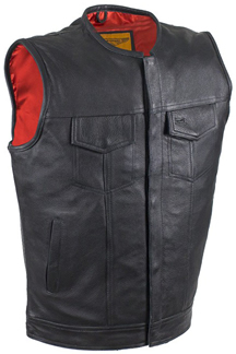 V8002Z Mens Leather Motorcycle Club Zipper Vest No Collar Red Liner