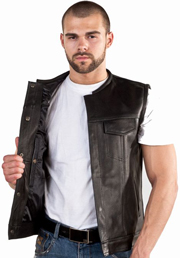 V8007 Mens Club Vest with Piping on Collar and hidden snaps