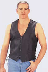 V101 Mens Leather Vest with Side Laces