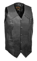 V1310T Mens Basic Tall Sizes Leather Vest with Plain Sides