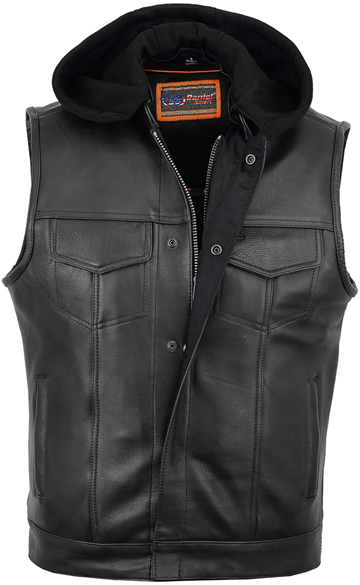 V182 Men's Leather Motorcycle Club Vest with Removable Knit Hood Larger View
