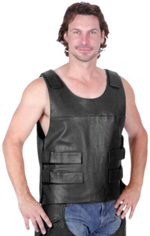 Mens Leather Vest V2623