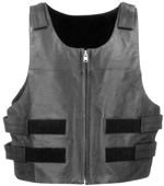 Mens V2643 Leather Vest With Adjustable Velkro Straps & Zipper
