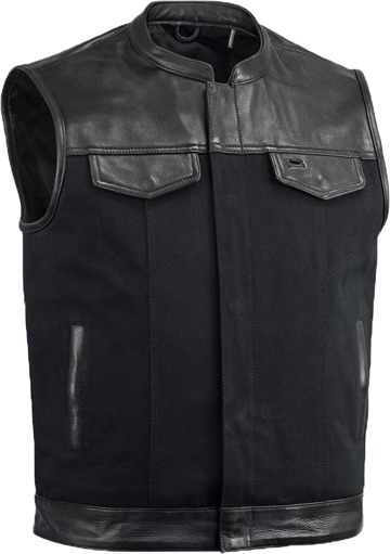 V4951CV-Collar Mens Heavy Canvas and Premium Leather Trim Motorcycle Club Zipper Vest with Short Mandarin Collar Larger View