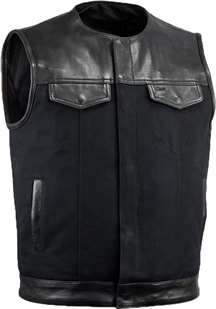 V4951CV-No Collar Mens Heavy Canvas and Premium Leather Trim Motorcycle Club Zipper Vest with No Collar