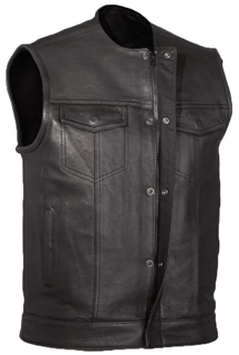 V639 Mens Leather Club Vest No Collar with Zipper