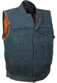 VDM3000 Mens Black Denim Club Vest with Hidden Snaps and Zipper