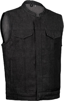 VDM691 Mens Black Denim Motorcycle Club Zipper Vest with Collar Collar