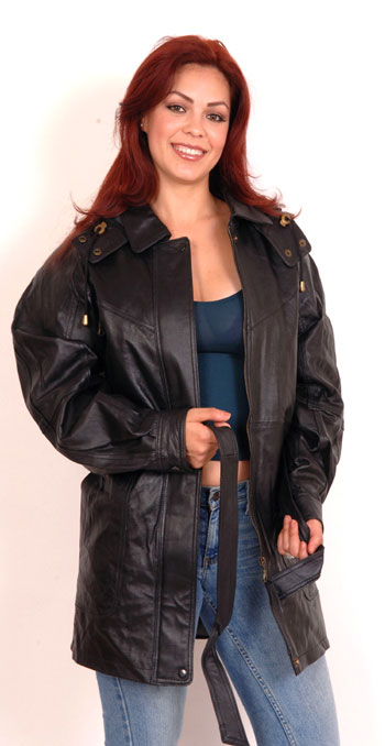A30 Ladies Leather Parka Coat with Belt and Removable Hood