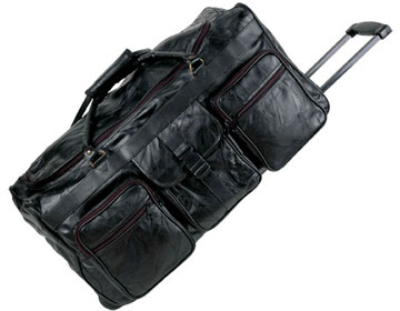 HS2090 Patchwork Leather 25 Inch Long Travel Bag with Wheels Click for Large View