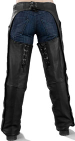 ladies low cut leather chaps with side lacing