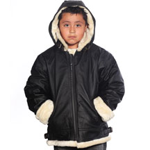 K109 Boys Leather Coat with Beige Fur and Hood