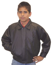 K5 Kids Black Leather Bomber Waist Jacket with Zipper Wind Flap Cover