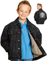 Kids Denim Jacket with Buttons and Skull