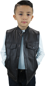 KV320 Kids Leather Motorcycle Club Leather Vest with Short Collar