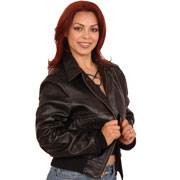 Ladies A2 Bomber Leather Aviation Bomber Jacket in Lamb