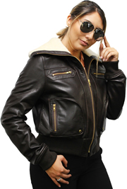 Ladies Aviator Leather Aviation Bomber Jacket with Real Sheep Shearling Fur Collar Made in the USA