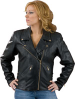 L102X Ladies Leather Biker Jacket Made in the USA