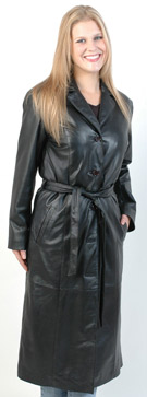 Ladies USA Made Leather Trench Coat