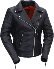 LC103 Ladies Classic Motorcycle Leather Jacket with Crossover Collar and Princess Panel Leather Braid Trim Large