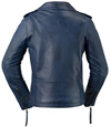 LC1082 Blue Cowhide Ladies Vintage Traditional Motorcycle Jacket with Half Belt Back View