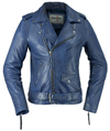 LC1082 Blue Cowhide Ladies Vintage Traditional Motorcycle Jacket with Half Belt Front View