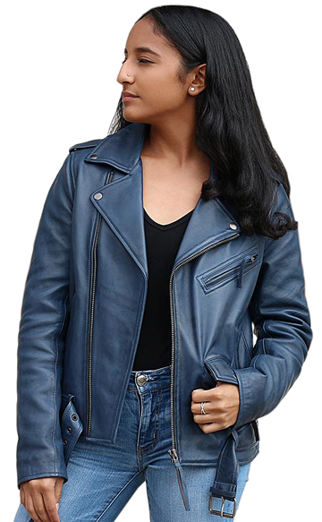 LC1082 Blue Cowhide Ladies Vintage Traditional Motorcycle Jacket with Half Belt Large View