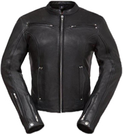 LC158 Women's Motorcycle Leather Jacket with Short Sport Snap Collar and Zipper Vents