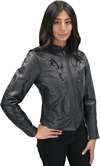 LC6555 Women's Motorcycle Leather Jacket with Removable Purple Hoodie, Purple Accesnts  Inside View
