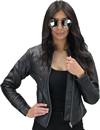 LC6555 Women's Motorcycle Leather Jacket with Removable Purple Hoodie, Purple Accesnts  Hood Front View
