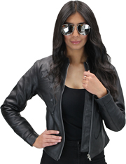 LC180 Women's Motorcycle Leather Short Collar Jacket with Reflective Stars in Front and Back