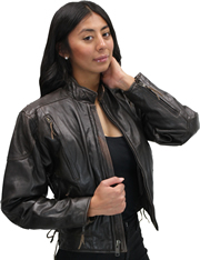LC2000 Women's Motorcycle Brown Leather Jacket with Short Sport Snap Collar and Zipper Vents