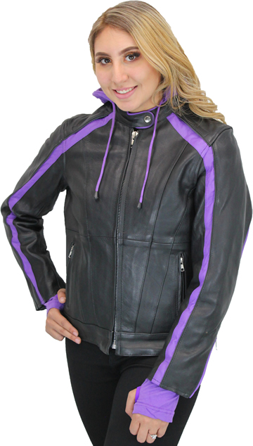 LC6555 Women's Motorcycle Leather Jacket with Removable Purple Hoodie, Purple Accesnts and Tribal Heart on Back Large View